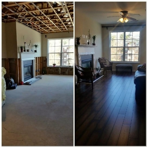 before and after dry out and water damage restoration