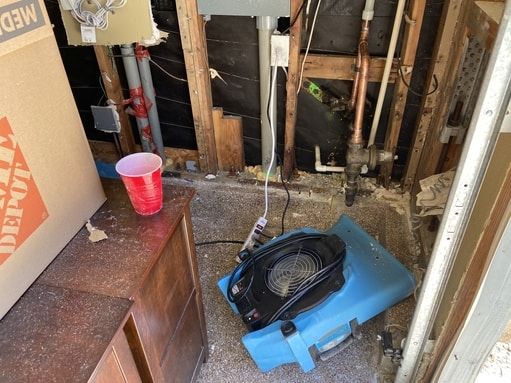 water damage mitigation dry-out fans at work